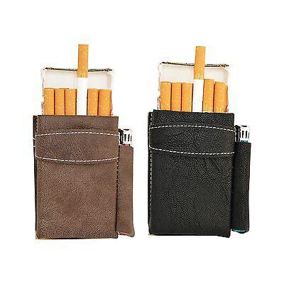 Edles Zigarettenetui aus Leder mit Fach für Feuerzeug Rockstar