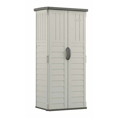 Outdoor Storage Shed Tall Plastic Garden Tool Cabinet Vertical Utility Cupboard ()