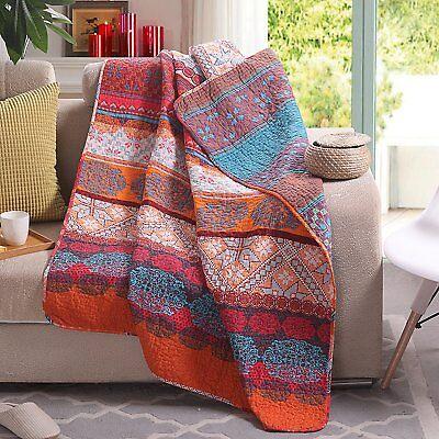 "60"" x 50"" Boho Stripe Quilted Throw Blanket 100% Cotton"