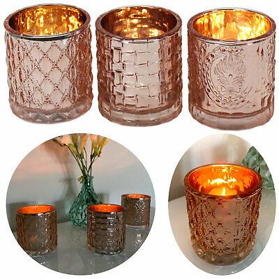 3x Glas Teelichthalter Set Rose Kupfer Kerzenglas Windlicht-Halter Teelichtglas