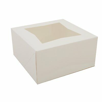 10 Count Window Bakery Box 6x6x3 White Bakery Or Cake Box