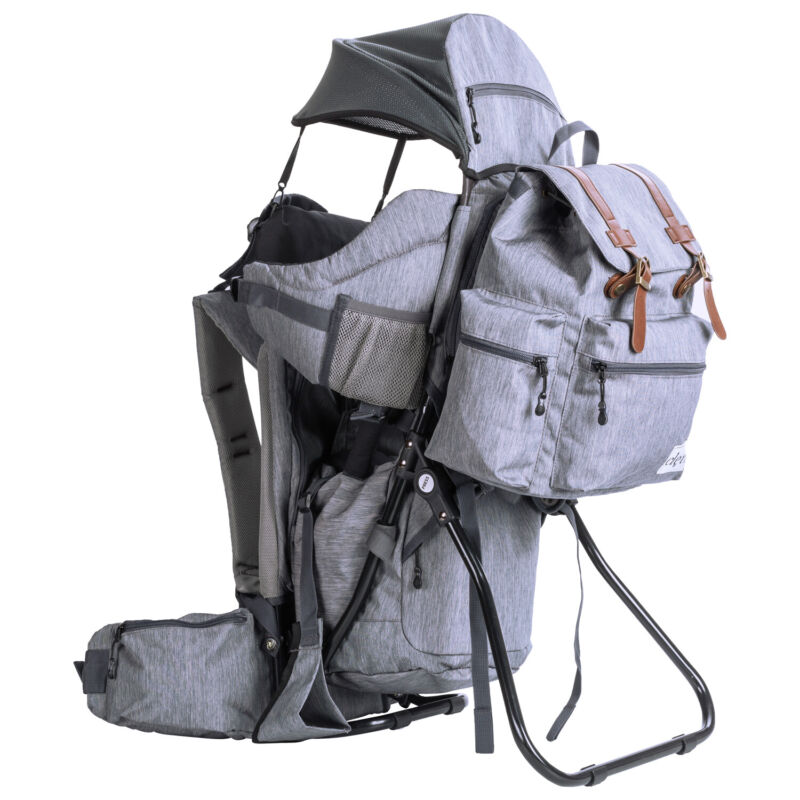 ClevrPlus Baby Carrier Child Backpack Hiking Camping w/Detachable Bag, Gray