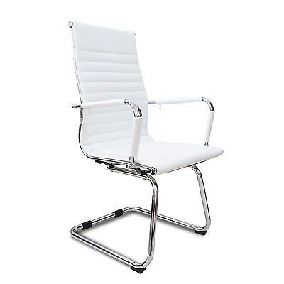High Back Office Chair Pu Leather Ribbed Sled Base Compute Desk Task Seat White