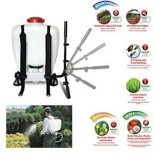 Garden Backpack Sprayer Lawn Pump 4 Gallon Chemical Tank Bottle Spray Wand
