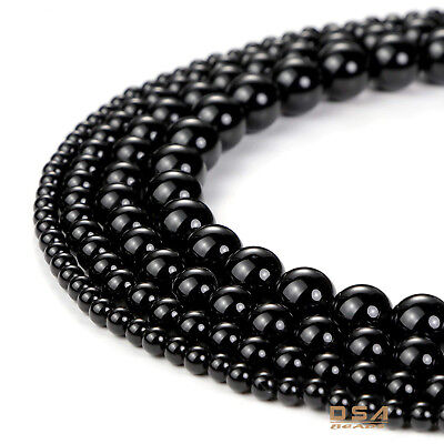 Black Onyx Round Beads Gemstone Black Agate 15.5'' AAA Loose Beads 4, 6, 8,10mm