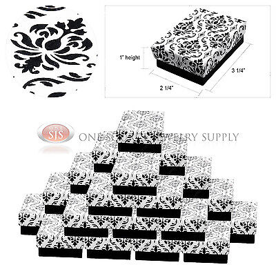 25 Damask Print Gift Jewelry Cotton Filled Boxes 3 14 X 2 14 X 1 Bracelets