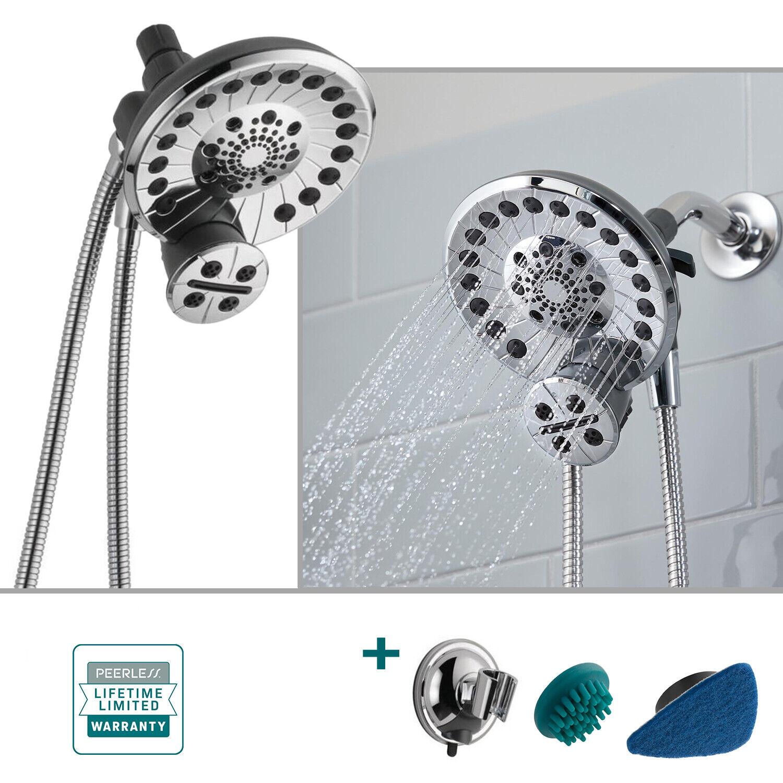 Peerless Sidekick 2 In 1 Shower System 5 Spray Dual Shower Head Handheld Chrome