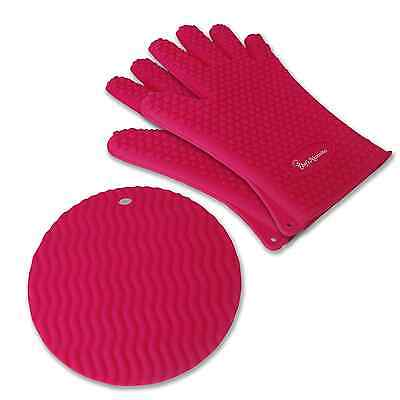 Silicone Cooking Set - 2 Gloves W/ Pot Holder Pink Hearts/Nonslip/Waterproof  - $13.50