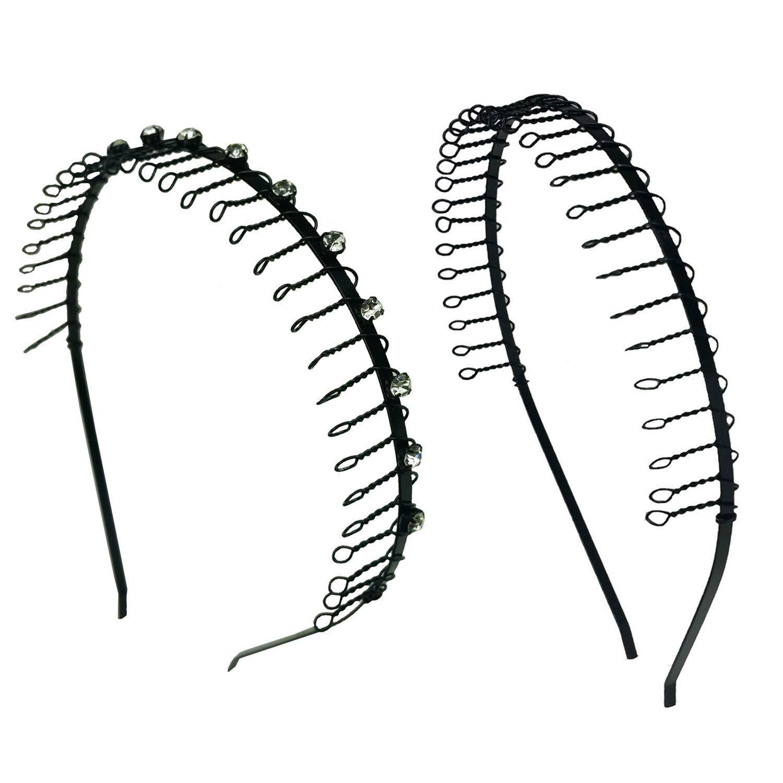 2 PCS  Comb Headband Metal Wire Teeth with Crystal Rhineston