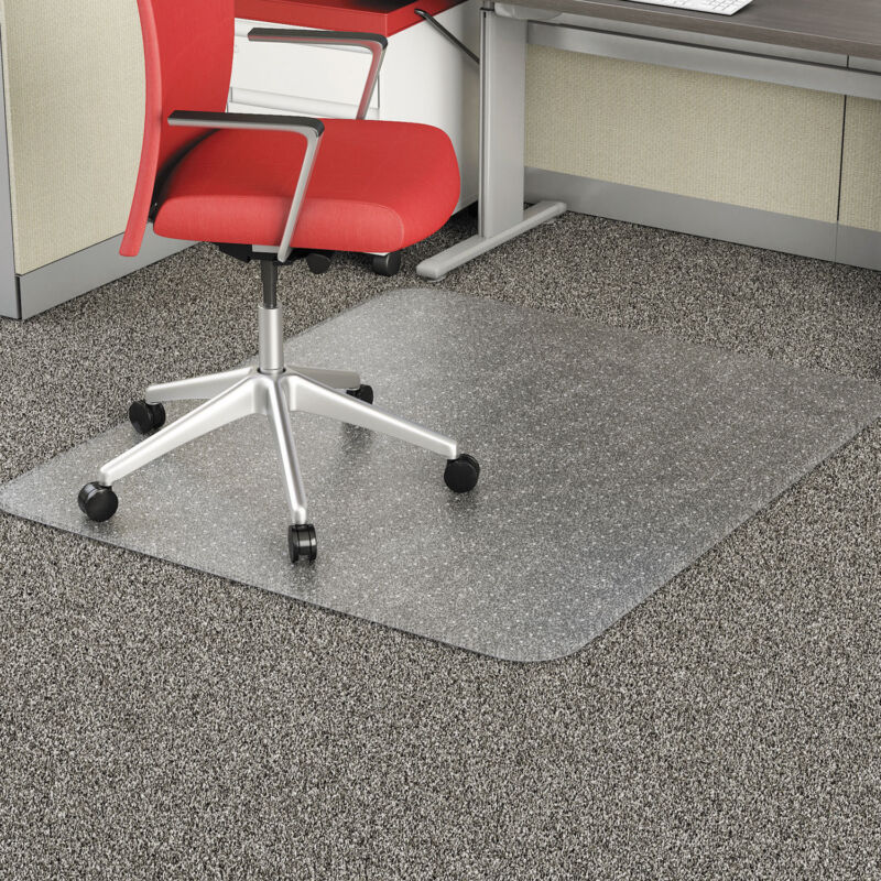 "Alera Studded Chair Mat for Flat Pile Carpet Rectangle 46"" x 60"" Carpet Clear"