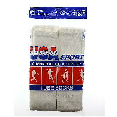 6 Pairs New Men's Cotton Athletic Sports Tube Socks 9-15 White Made In USA