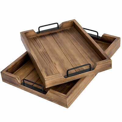 MyGift Set of 2 Dark Brown Wood 16 Inch and 20 Inch Serving