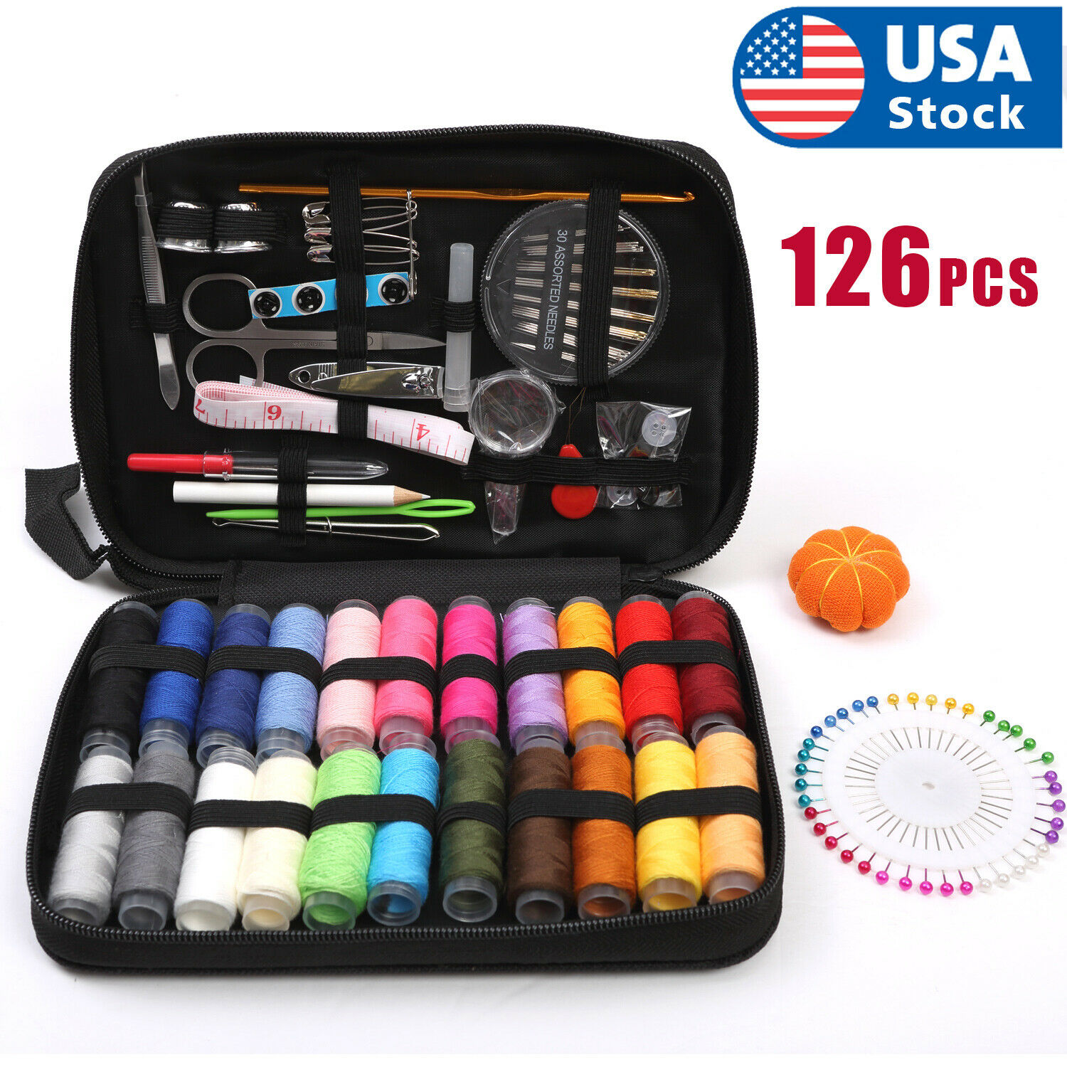 126Pcs/Set Sewing Kit Scissors Needle Thread For Home Stitching Hand Sewing Tool Collectibles