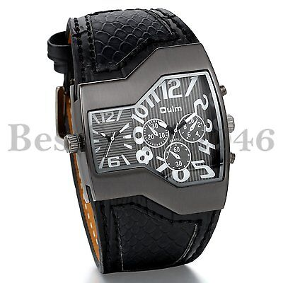 Mens Large Face Dual Time Quartz Analog Wide Leather Wrist Military Sport Watch - Large Quartz Watch