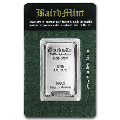 1 oz Platinum Bar - Baird & Co. (In Assay) - SKU #66150