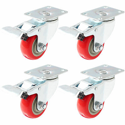 4 Pack 3 Caster Wheels Swivel Plate Total Lock Brake Red Polyurethane Pu