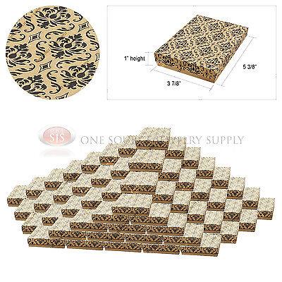 100 Kraft Damask Print Gift Jewelry Cotton Filled Boxes 5 38 X 3 78 X 1