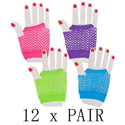 12 Pair 80s Themed Fishnet Fingerless Diva Wrist Gloves Neon Gloves Party Favors (80s Party Themes)