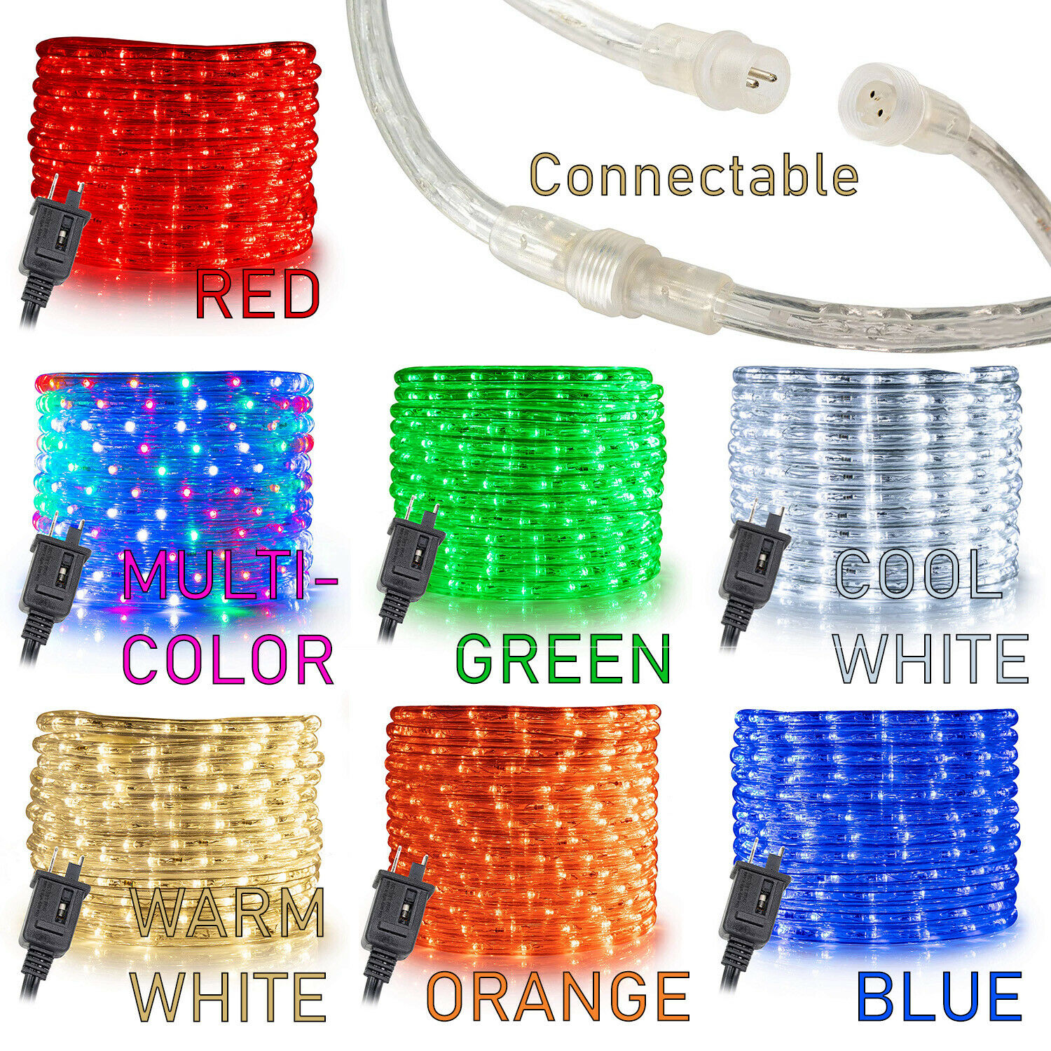 10, 25, 50 ft Option Warm White LED Rope Lights 2 Wire Accent Holiday Christmas Party Decoration Extendable Lighting | ETL Certified West Ivory 1//2 25 feet