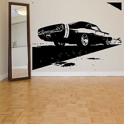 Muscle Car Decor (Sports Race Muscle Car Ford Mustang Wall Decal Art Decor Vinyl)