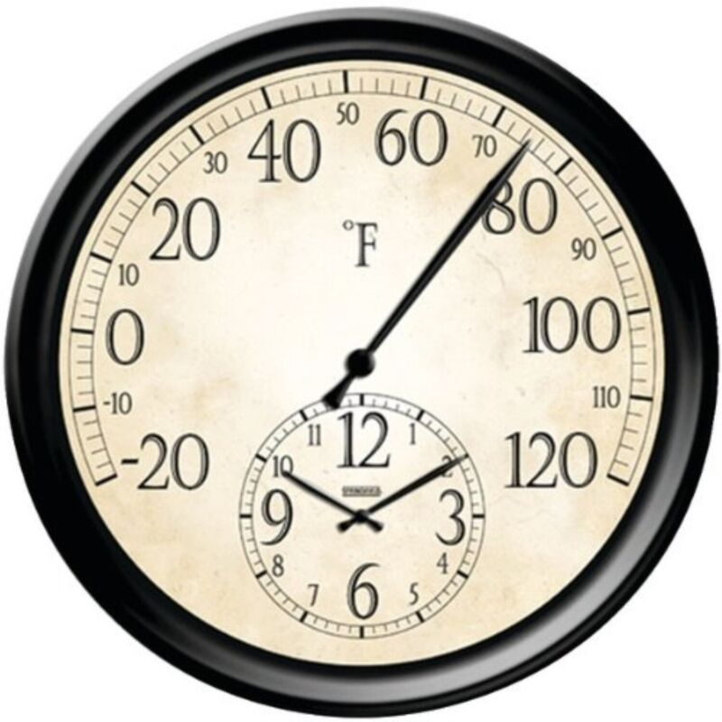 Taylor Precision Products Springfield Patio Thermometer with Clock, 14 Refurbush