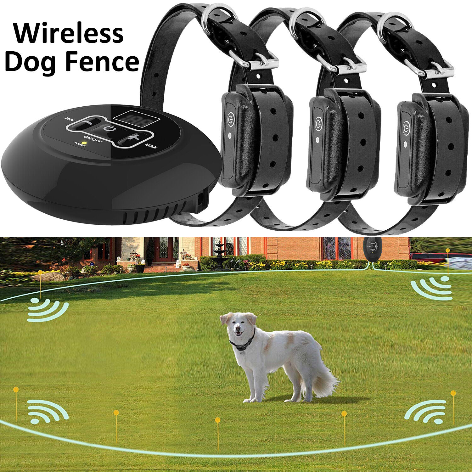Купить Whizzohead - Wireless Electric Dog Fence Pet Containment System Shock Collars For 1/2/3 Dogs