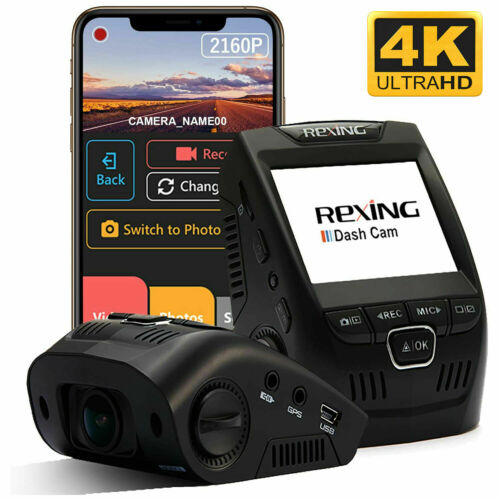 "Rexing V1-4K Ultra HD Car Dash Cam 2.4"" LCD Screen, Wi-Fi, 170 Wide Angle"