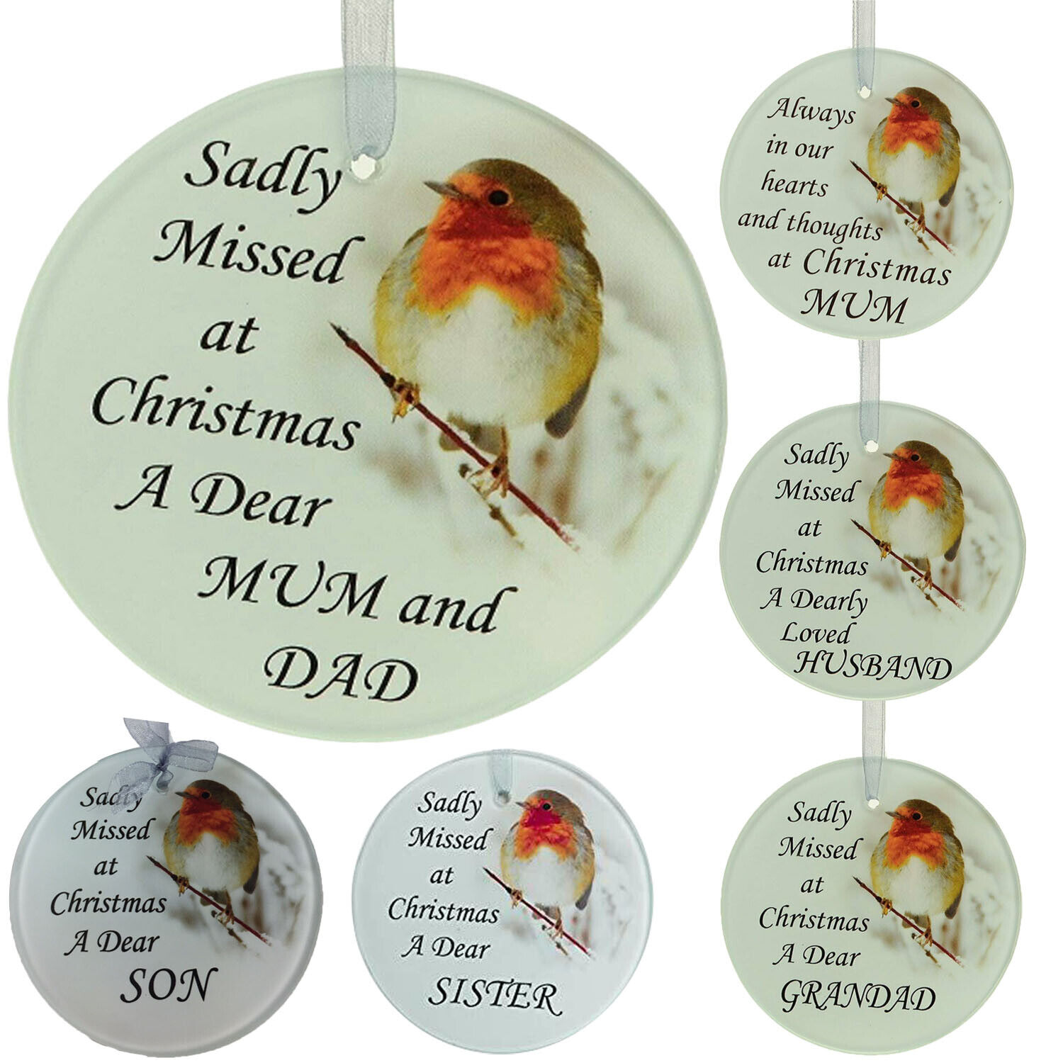 Robin Glass Christmas Tree Hanging Plaque//Decoration Memorial Xmas Bauble