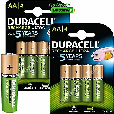8 x Duracell AA 2500 mAh Rechargeable ULTRA Batteries, NiMH HR6 MN1500 Duralock