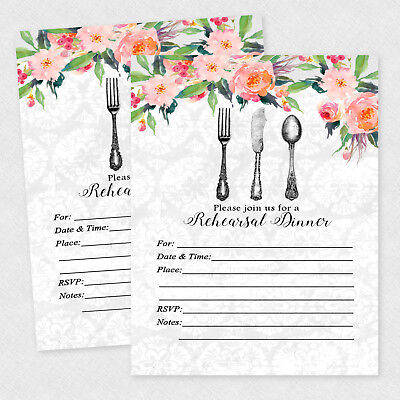 Rehearsal Dinner Invitations Wedding Invitation Bridal Shower Decoration Qty 20