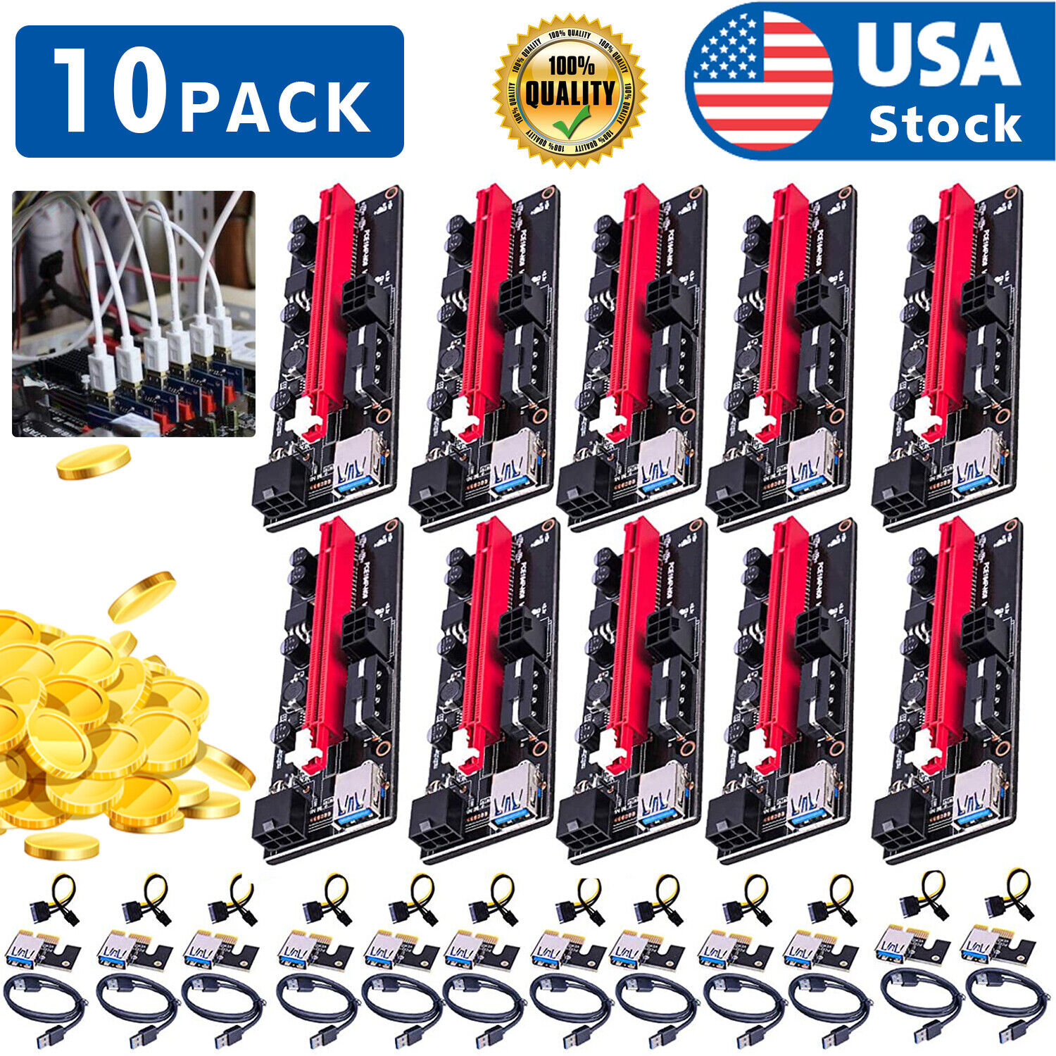 10PACK PCI-E 1x to 16x Powered USB3.0 GPU Riser Extender Adapter Card VER 009s Computer Cables & Connectors