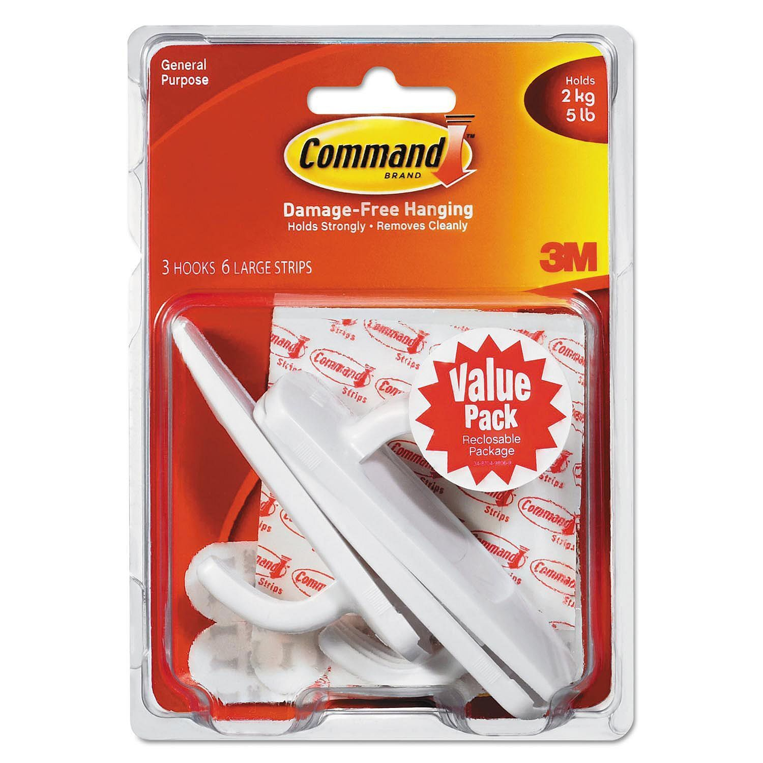 Command Hooks, Large, 5lb Capacity, White, 3 Hooks & 6 Adhes