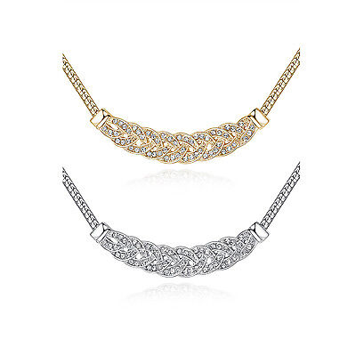 (Fine crystal bib white gold filled Fashion womens party jewelry necklace lucky)