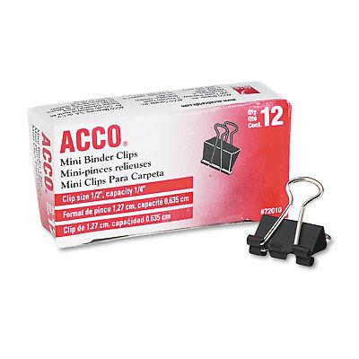 """ACCO Mini Binder Clips Steel Wire 1/4"""" Cap 1/2""""w Black/Silver Dozen 72010"""