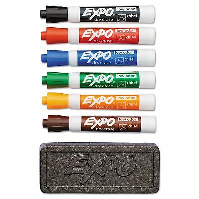 Expo Dry Erase Marker And Organizer Kit Assorted Colors Chisel Tip 6 Ct.