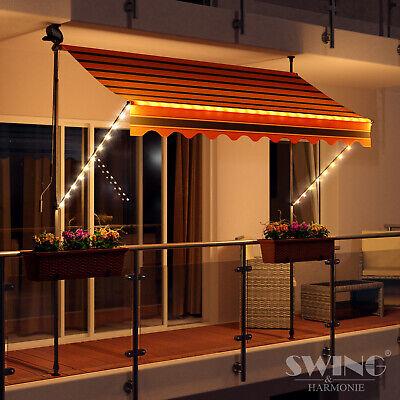 LED - Markise mit Kurbel Klemmmarkise Balkonmarkise Sonnenschutz Terrasse
