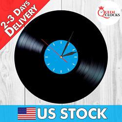 NEW Vinyl Record Wall Clock Blue Face Vintage Decor Home Gift Designer LP Modern