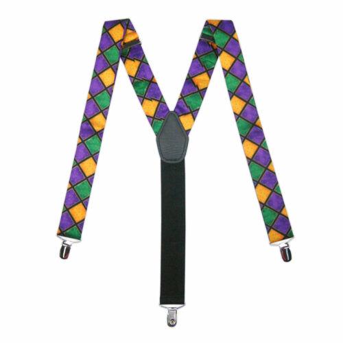 New Mardi Gras Purple Gold Green Suspenders Clip On Ball Tuxxman
