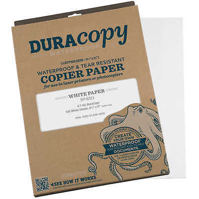 Duracopy Waterproof Copierlaser Printer Paper 8.5 X 11 100 Sheets