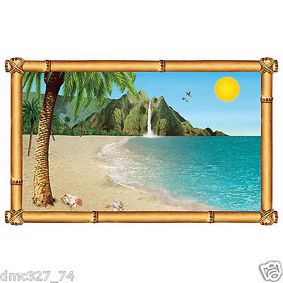 LUAU Party Decoration Prop WALL Instant MURAL TROPICAL Island BEACH Paradise