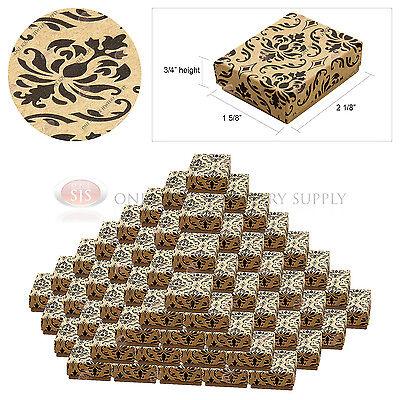 100 Kraft Damask Print Gift Jewelry Cotton Filled Boxes 2 18 X 1 58 X 34