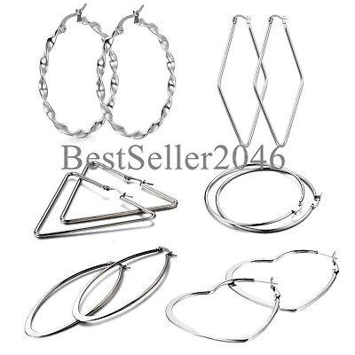 6 Pairs Women Girls Silver Tone Stainless Steel Large Hoop Earrings Gift Set Girls Earrings Set