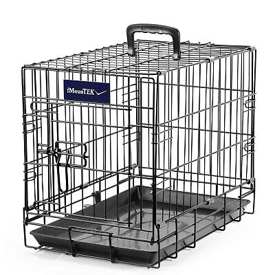 Pet Kennel Cat Dog Folding Crate Wire Metal Cage 2 Door 48