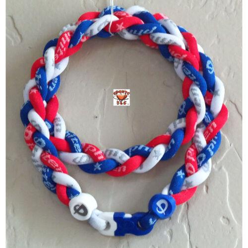 Phiten Triple Braid Custom-RoyalBlue/White/Cardinal Red