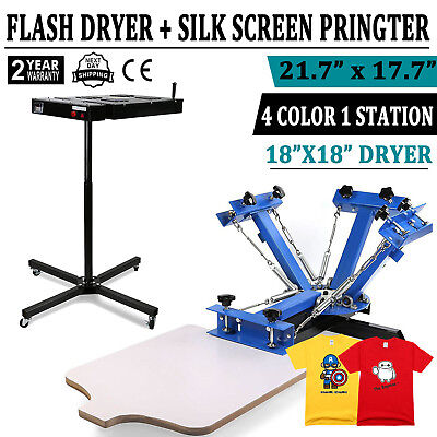 4 Color Silk Screen Print Machine With 18 Flash Dryer T-shirt Press Equipment