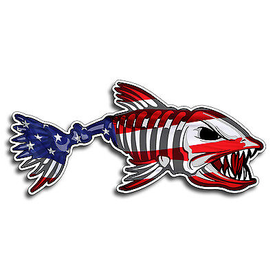 USA Bone Fish Skull Sticker America Flag Decal Fishing Kayak Boat Car Truck Auto