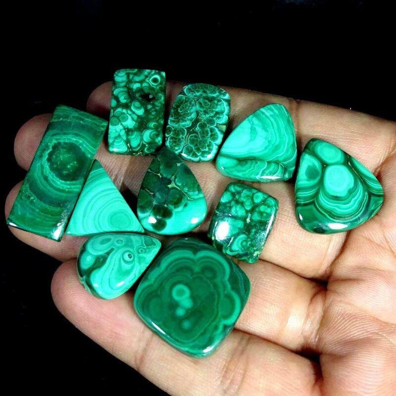 151.70Cts 100% Natural Royal Green Malachite Mix Cabochon Lot