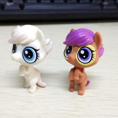 Girls Shop Name (2pcs Littlest Pet Shop LPS Brown & White Pony Horse Mini Figure Kids Girl)