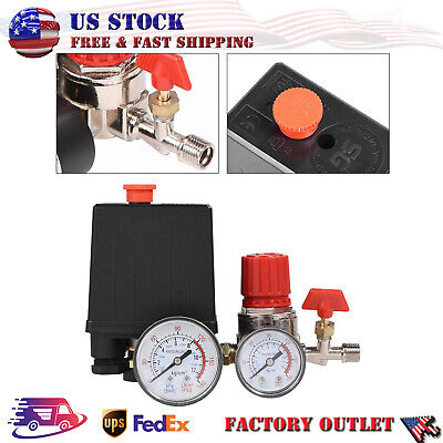 Air Compressor Pressure Switch Control Valve Regulator With Gauges 90-120 Psi