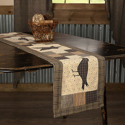 New Primitive Folk Art BLACK STAR & CROW PATCHWORK QUILT TABLE RUNNER 72""